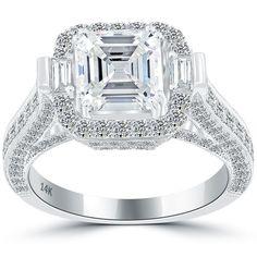 3.72 Carat D-VVS1 Asscher Cut Diamond Engagement Ring 14k White Gold #LioriDiamonds #DiamondEngagementRing