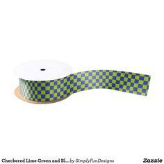 Checkered Lime Green and Blue Satin Ribbon