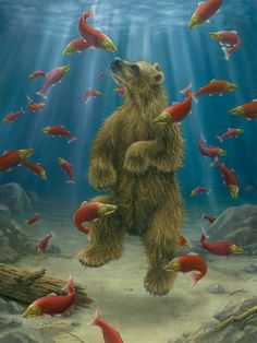 couldn't find any info on this painting, but it looks like the afterlife for salmon and grizzly... ;-)