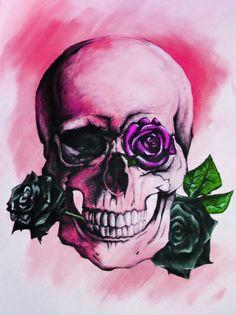 Skulls and Roses PINK Art Print