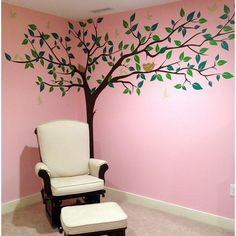 Pop Decors 133 in. x 90 in. Colorful Super Big Tree Removable Wall Decal, Dark Brown/Two Green Leaves/Beige Birds Light Brown Bird Nest Kids Room Wall Decals, Wall Murals, Tree Decal Nursery, Simple Wall Paintings, Diy Room Decor For Teens, Wall Stickers Wallpaper, Creative Wall Decor, Green Wall Art, Tree Wall Decor