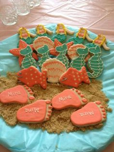 Ocean Themed Baby Shower Sugar Cookies with Baby Feet, Mermaids, Shells, Seahorse and Fish.