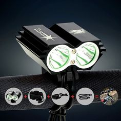 Front Head Bicycle Bike Light Headlamp with 6400mAh Battery + Charger