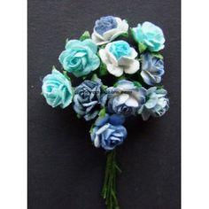 sur tige en papier murier excellente qualitée vendu par 10 mixte de couleur dans les tons bleu