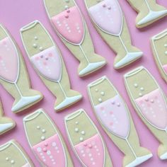 Champagne Flute Sugar Cookies by HollyFoxDesign on Etsy