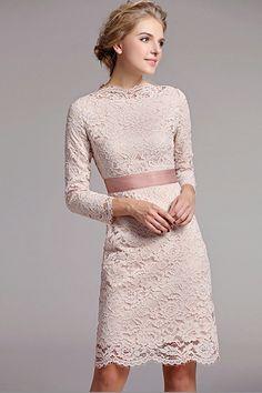 Dress Idea. Modest short length, boatneck top, sheer lace longsleeve. Off white…