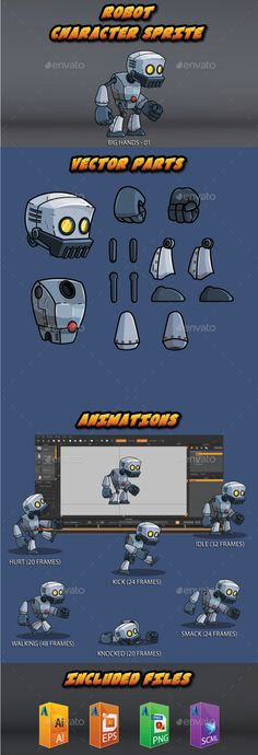 The big hands robot — Vector EPS #shooting #robot • Available here → https://graphicriver.net/item/the-big-hands-robot/14067612?ref=pxcr