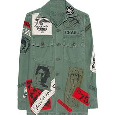 MadeWorn Stones Exile On Main St Army Denim jacket with band patches - Jackets & Coats Denim Jacket Patches, Jacket Buttons, Patched Denim, Look Jean, Battle Jacket, Straight Jacket, Outerwear Jackets, Army Jackets, Jean Jackets
