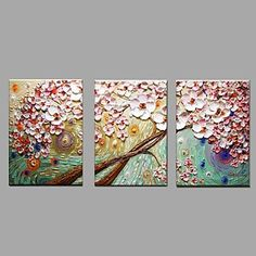 Hand Painted Oil Painting Modern Knife Flower 3 Piece/set Wall Art with Stretched Framed Ready to Hang – AUD $ 120.96