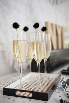 Bubbly drinks at a New Year's party! See more party planning ideas at CatchMyParty.com!