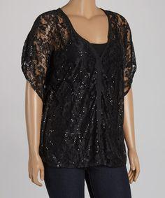 Look at this #zulilyfind! Black Lace Sequin V-Neck Top - Plus by Marineblu #zulilyfinds  $24.99