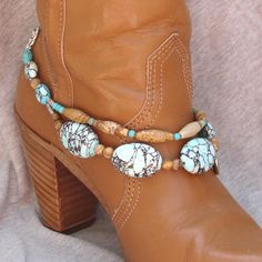 Japser & Turquoise Beaded Boot Bracelet by FunkyFrogsCrafts, $60.00