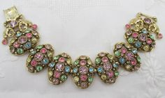 Vintage Pastel Rhinestone Egg Shaped Linked Bracelet