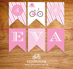 Girls Pink Bicycle Party Theme Bunting Flags (Personalised DIY Printables)