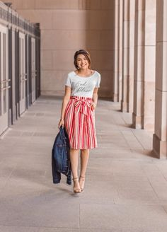 @thedarlingstyle Skirt Style. Modest Fashion. Gettings Into The Spring Chic Style. Moda. Red and White Striped skirt.