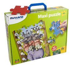 Miniland - Maxi puzzle: animalitos y números en estuche (36001)