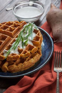 Enjoy it for Easter—Eat the Love's Savory Sweetpotato Waffles with Garlic Crème Fraiche! Easy, impressive, amazing—and don't they look delicious???