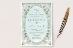 """""""Elegant Lines"""" - Vintage, Whimsical & Funny Wedding Invitations in Sky by Chris Griffith."""