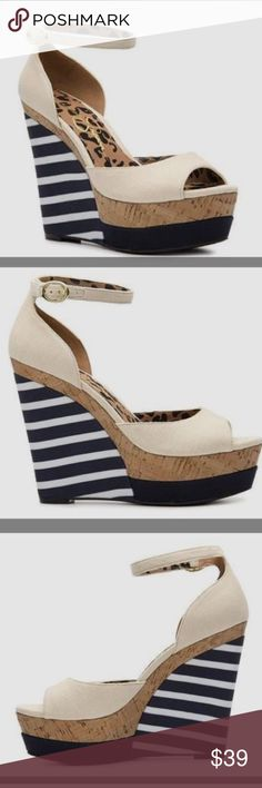 Jessica Simpson Dollie Wedges Sz 9 Jessica Simpson wedges Sz 9. In EUC! Only worn once or twice (soles are in great condition). Some scuffs on the canvas (pictured), probably from storage with other shoes. Super cute nautical feel for the summer! Jessica Simpson Shoes Wedges