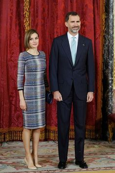 King Felipe VI of Spain and Queen Letizia of Spain attend a lunch in honour of Egyptian President Abdel Fattah al-Sisi at the Royal Palace on April 30, 2015 in Madrid, Spain.