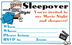 Fill the blanks on this movie night and sleepover invitation and send it to your friends! Just click on the image and it will open nice and big - then print however many invites you need for the number of guests you're inviting to your movie night and pajama party! No need to subcribe or pay - these are free - just go for it ...