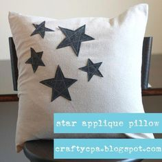 appliqué pillow - I'd like the stars in brighter colors, or maybe even reverse applique!star appliqué pillow - I'd like the stars in brighter colors, or maybe even reverse applique! Applique Cushions, Sewing Pillows, Diy Pillows, Decorative Pillows, Throw Pillows, Couture Cuir, Sewing Crafts, Sewing Projects, Reverse Applique