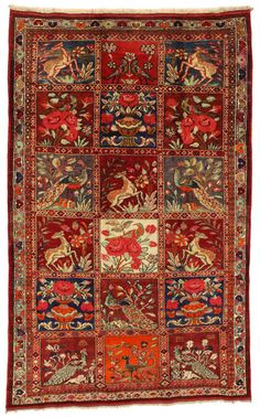 Gabbeh - Bakhtiari Persian Carpet with animal and floral theme