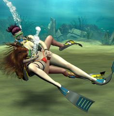Underwater knife fight by CB1964.deviantart.com on @DeviantArt