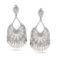 Silver-Tone Metal Filigree Drop Stud Earrings
