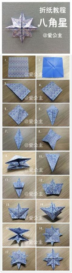 A Christmas star with blue patterned paper - just beautiful. #origami #diy by saundra