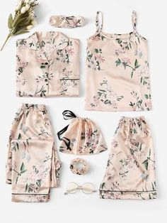 Shop Floral Print Satin Cami PJ Set With Shirt online. SheIn offers Floral Print Satin Cami PJ Set With Shirt & more to fit your fashionable needs. Cute Sleepwear, Sleepwear Women, Lingerie Sleepwear, Nightwear, Sexy Lingerie, Satin Cami, Satin Pajamas, Pyjamas, Cute Pjs