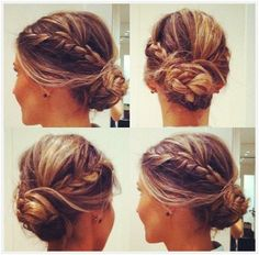Messy Braided Bun Updo Hairstyle: Side and Back View