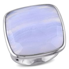 Miadora Sterling Silver Square-cut Blue Lace Agate Cocktail Ring (Size 5.5), Women's