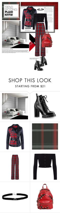 """Punk plaid."" by zeljkaa ❤ liked on Polyvore featuring Oskar the Label, River Island, BillyTheTree, Moschino, contestentry and NYFWPlaid"