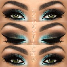 Gorgeous turquoise green eye makeup! #glam