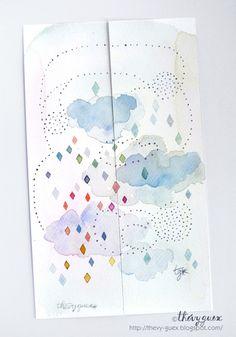 Marque Pages Peinture Aquarelle Originale Bleu Pastel Multicolore Pluie Nuage Losange Pois/Ensemble de 2 Marque Pages