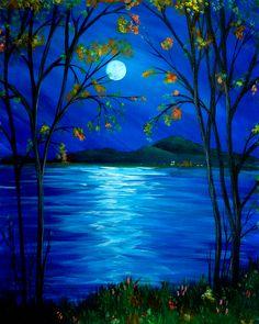 Moonlit Mountain Lake (Fall)