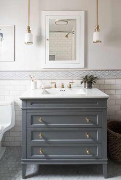 Bathroom Reno Mistakes Every Homeowner Makes Attic Bathroom, Bathroom Renos, Grey Bathrooms, Small Bathroom, Narrow Bathroom Vanities, Ikea Bathroom Vanity, Brass Bathroom, Bathroom Hardware, Bathroom Wall