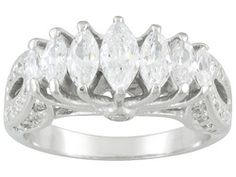 Bella Luce (R) 2.38ctw Marquise And Round Rhodium Plated Sterling Silver Ring