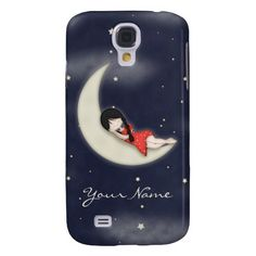 Whimsical Young Girl Asleep on the Moon customizable samsung galaxy s4 cover.