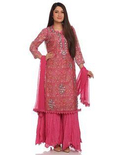 Shop Pink Straight Lurex Nylon Suit Set online at Biba.in - SKD4843PNK