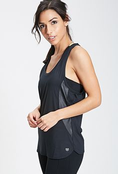 Faux Leather-Paneled Workout Top | FOREVER 21 - 2000099540
