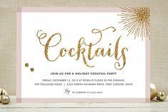 Glitter Bling Holiday Party Invitations #holidayentertaining