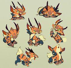 仔虎 Ryota Murayama's blog. http://ovopack.org tiger: Small Deer, Magical Creatures, Cute Creatures, Fantasy Creatures, Creature Concept Art, Creature Design, Character Creation, Character Art, Character Illustration
