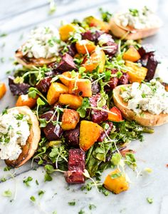 Roasted Beets and Beet Greens with Goat Cheese Crostini   www.cookingandbeer.com