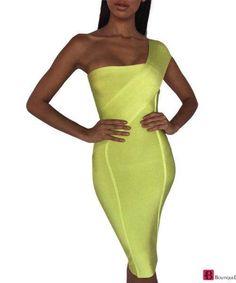 Celebrity Neon One-Shoulder Dress Sexy Maxi Dress, Lace Dress, Bodycon Dress, Wine Red Dress, One Shoulder, Shoulder Dress, Neon, Fringe Dress, Celebrity Dresses