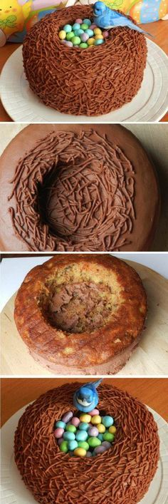 Easter Bird Nest Cake Recipe~So cute for Easter!! - For all your Easter cake decorating supplies, please visit http://www.craftcompany.co.uk/occasions/easter.html
