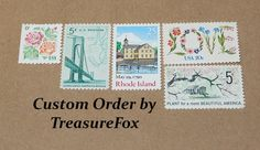 Reserved Custom Order for Molly. Unused Vintage US Postage Stamps for mailing wedding invitations by TreasureFox on Etsy