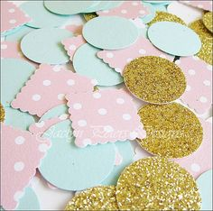 Party Confetti Gold Glitter Pink and Mint by JaclynPetersDesigns