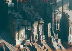 Futuristic cityscapes featuring soaring skyscrapers, flying cars and all-seeing video screens are popular features of sci-fi films. And now one artist has… Concept Art World, Game Concept Art, Sci Fi Environment, Environment Design, Dark Fantasy Art, Sci Fi Fantasy, Final Fantasy, Cyberpunk City, Sci Fi Films